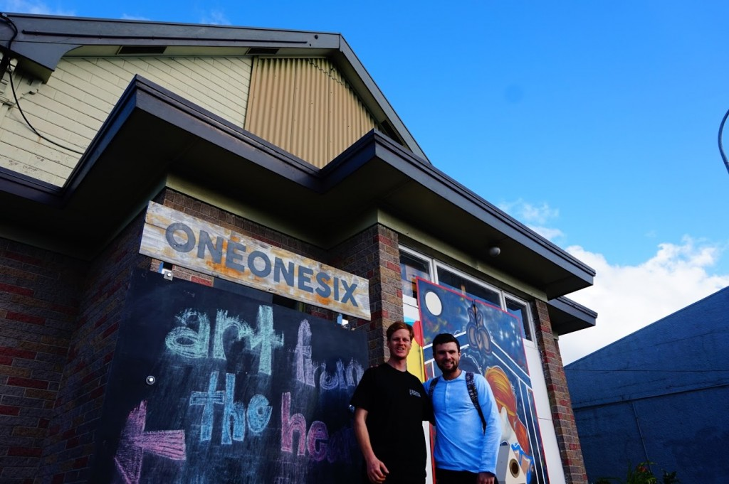 Ash and Barry in front of ONEONESIX